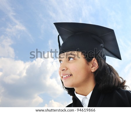 Diploma graduating little arabic student kid