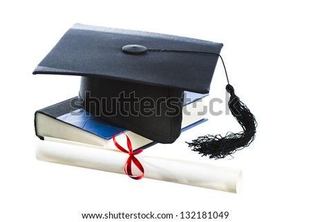 Diploma, Graduation hat and book isolated on white