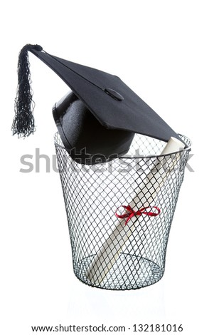 Diploma, Graduation hat inside a trashcan isolated on white