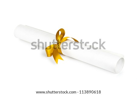 Diploma with a gold ribbon  isolated on white