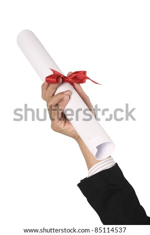 Diploma with a red ribbon in hand isolated on white
