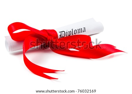 Diploma with red ribbon on white background