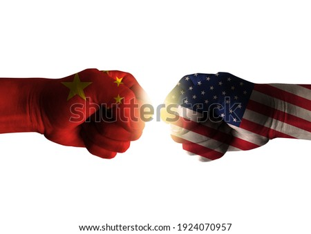 Diplomatic concept illustration. The confrontation between china and the  united states. Foto stock ©