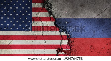 diplomatic relations between The U.S. and Russia. Flag of the two countries. Stockfoto ©