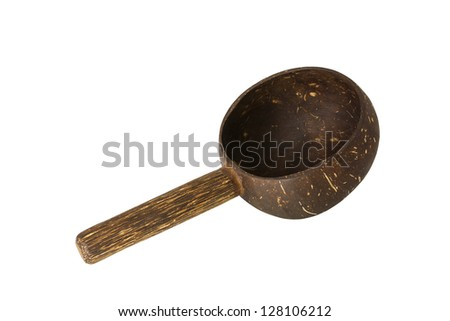 Dipper made from coconut shell, traditional container for drinking water of Thai people, isolated on white background