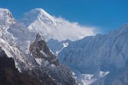 Diran mountain peak in Karakoram mountains range in Hunza valley, Gilgit Baltistan in Pakistan, Asia