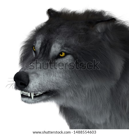 Dire Wolf Head 3D illustration - The carnivorous Dire Wolf lived in North and South America during the Pleistocene Period. Photo stock ©
