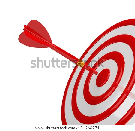Direct hit in the center of the target. 3d image. White background.