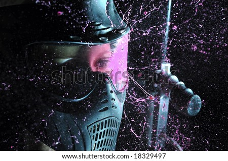 direct hit (paintball game) Stock photo ©