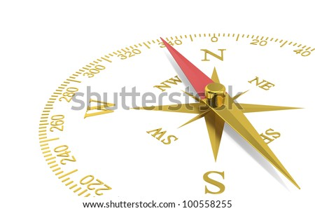 Direction. Abstract Perspective view of a compass dial. Brass.
