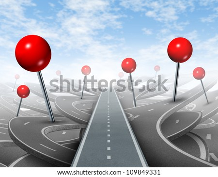 Direction Advice and choosing the right direct clear path to success with red push pins global positioning systems icon as confusing guides on the wrong roads as obstacles to financial wealth.