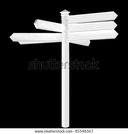 Direction arrows traffic sign isolated over black