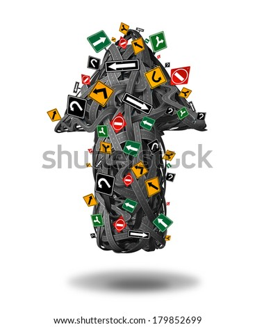 Direction determination choices business concept as a group of tangled roads streets and highways shaped as an arrow going up with confusing traffic signs as a metaphor for strategy direction focus. - stock photo