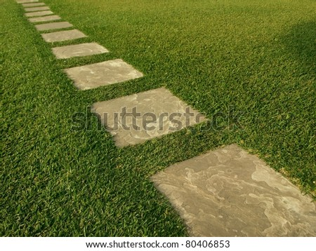 Direction of tile path in green grass field