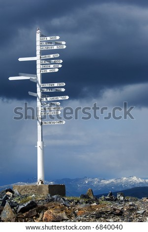 Direction pole with world cities signs on the top of Alaska\'s mountain