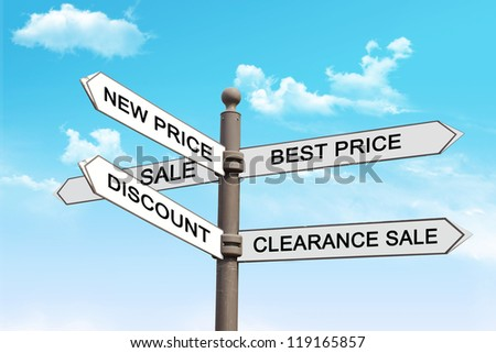 Direction sign in shopping. Idea and motivation