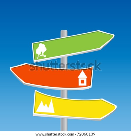 Direction Signs - mountain, forest, town