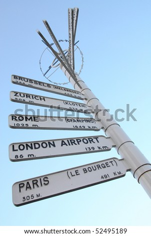 Direction signs showing various European airports and their distance from Birmingham, England. Brussels, Zurich, Rome, London and Paris.
