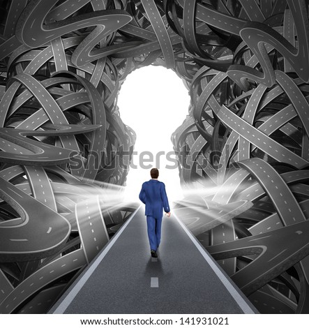 Direction Solutions As A Business Leadership Concept With A Businessman Walking To A Glowing Key Hole Shape Opening As A Straight Path To Success Through A Confused Maze Of Tangled Roads Or Highways.