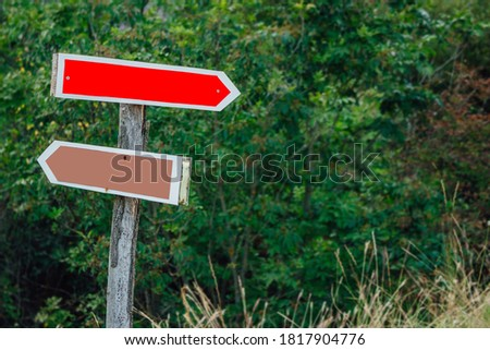 Directional arrow signs on wooden pole in the forest. Blank track pointers or guidepost against green nature background, copy space for text. Stock photo ©