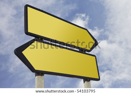 Directional blank road sign