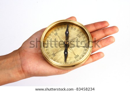 Directional compass in the hand