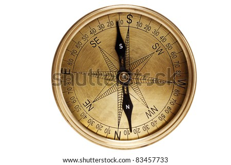 Directional compass on white