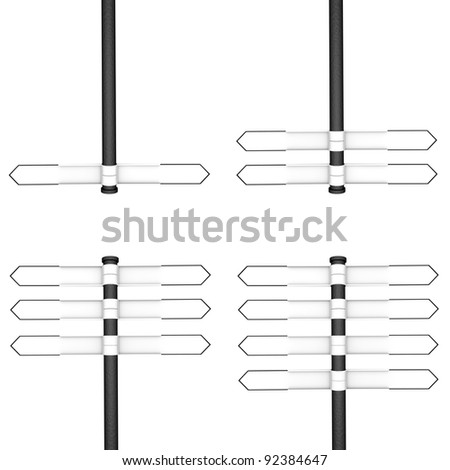 Directional posts with two, four, six and eight blank pointers respectively