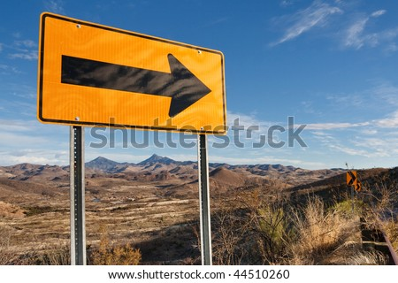 Directional Road Sign in Southern Arizona, USA.
