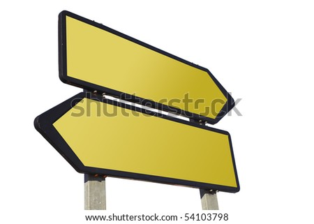 Directional road sign isolated