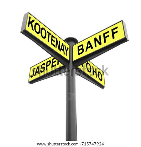 Directional road signs isolated on white. Signpost. Marker with yellow metal plates pointing direction to Canadian National Parks - Kootenay, Banff, Jasper, Yoho. Tourism and travel #715747924