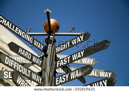 Directional Signage.  Right way, Fast way, Easy way, Challenging way, Hard way, Difficult way.