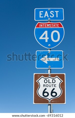 Directional signs along US Interstate I-40 in Texas