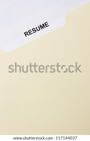 Directly above photograph of a resume title page.