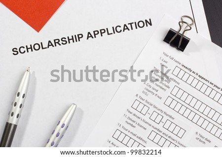 Directly above photograph of a scholarship application.