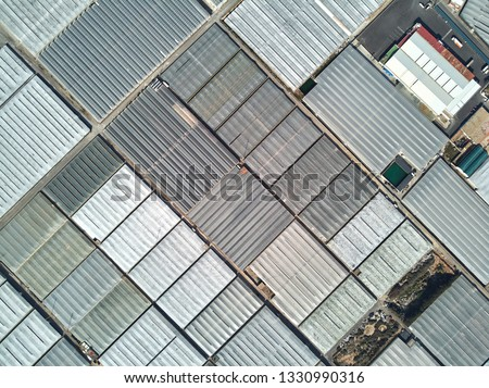 Directly from above full frame polythene plastic green houses or hothouses rooftops where cultivated fruits and vegetables in the Almerimar, province of Almeria, Andalucia or Andalusia, Spain