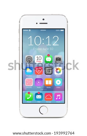 Directly front view of a modern white mobile smart phone with flat design application icons on the screen isolated on white background High quality