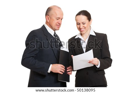director and secretary looking at documentation. isolated on white background