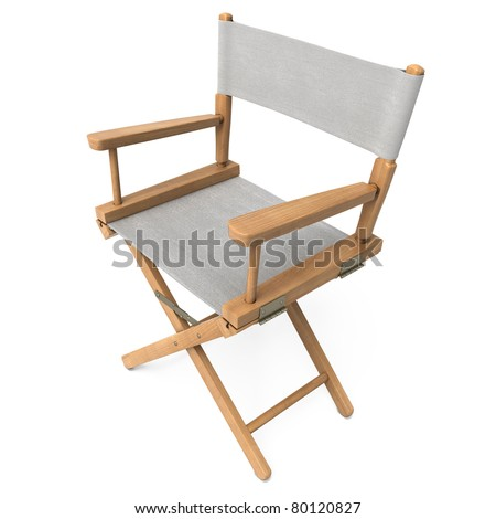 Director Chair clipping path (gray cloth)