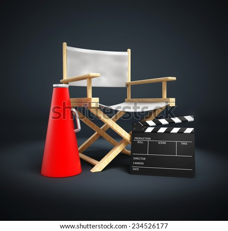 Director chair, film slate and load horn.