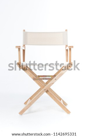 director chair made of wood and fabric well Comfortable sitting on a white backdrop, copy space #1142695331