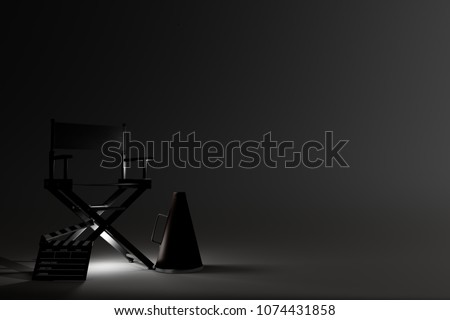 Director Chair,Megaphone and Movie Clapper with light on dark background. 3d rendering