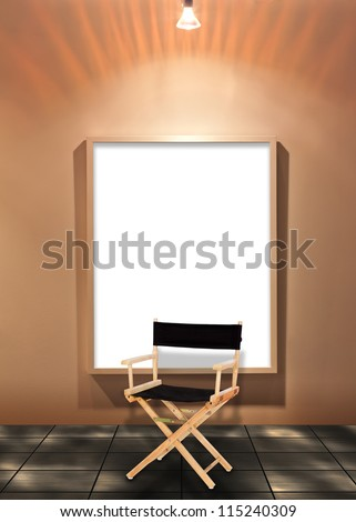 Director chair with blank white board on the wall