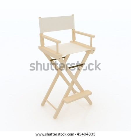 Director Chair. Wooden, White Fabric furniture piece design.