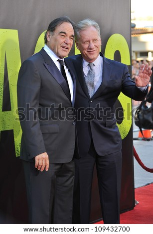 "Director Oliver Stone (left) & James Woods at the world premiere of Stone's new movie  ""Savages"" at Mann Village Theatre, Westwood. June 26, 2012  Los Angeles, CA Picture: Paul Smith / Featureflash"