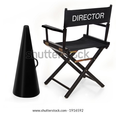 director's chair and megaphone on white background - stock photo