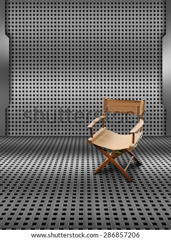 Director\'s chair on the metal background