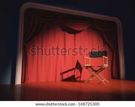 Director\'S Chair On The Stage Illuminated By Floodlights.