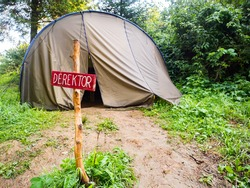 Director's tent for remote work in seclusion. A good place for quarantine. Koronawirus (COVID-19) place.