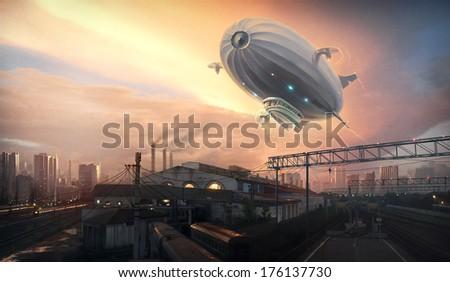 Stock Photo Dirigible in sky over. Digital art.